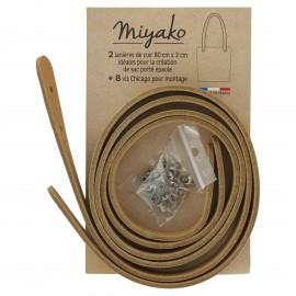 Miyako leather shoulder bag handle - Sand