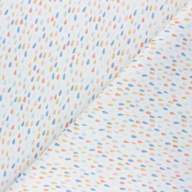 Cretonne Cotton fabric - white Pluie colorée x 10cm