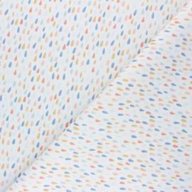 Tissu coton cretonne Pluie colorée - blanc x 10cm