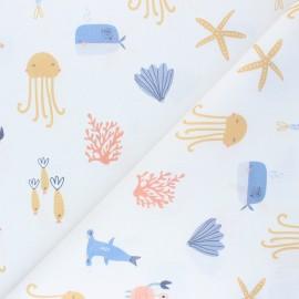 Tissu coton cretonne Ocean Friends - blanc x 10cm