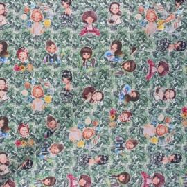Tissu coton cretonne Tropical Portraits - vert x 10cm