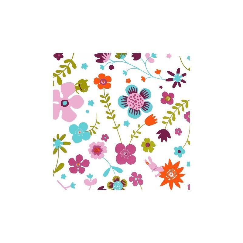 tissus pas cher tissu coton fleurs prune minilabo. Black Bedroom Furniture Sets. Home Design Ideas