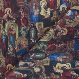 Tissu coton cretonne Icone Vierge - multicolore x 10cm