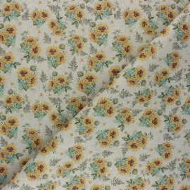 Tissu coton cretonne Les Tournesols - beige x 10cm