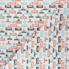 Cretonne Cotton fabric - white It's Yoga Time! x 10cm