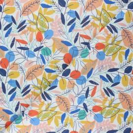 Tissu coton cretonne Multicolor Jungle - blanc x 10cm