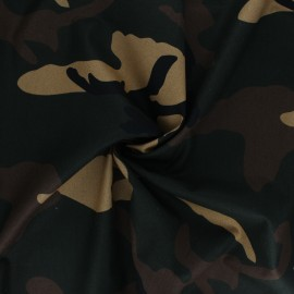 Tissu popeline de coton Big Camouflage - kaki x 10cm