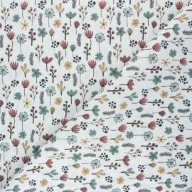 Tissu coton cretonne Cueillette en forêt - blanc x 10cm