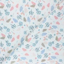 Tissu coton cretonne Balade dans les bois - blanc x 10cm