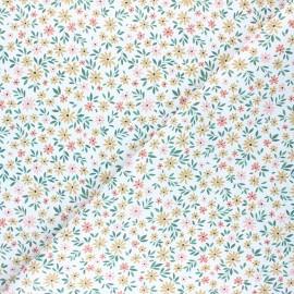 Cretonne Cotton fabric - white Delicate Flower x 10cm
