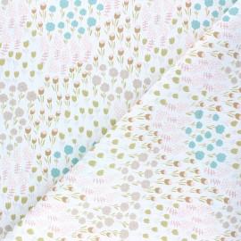 Tissu coton cretonne Champ de fleurs - blanc x 10cm