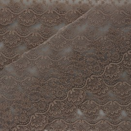 Ruban broderie sur tulle Marise - taupe x 50cm