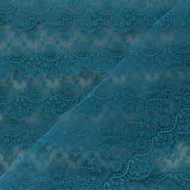 Ruban broderie sur tulle Marise - bleu paon x 50cm