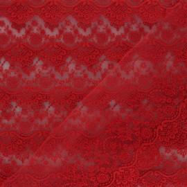 Ruban broderie sur tulle Marise - rouge x 50cm