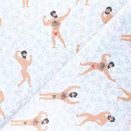 Tissu coton cretonne Musclor - blanc x 10cm