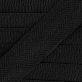 Sangle coton unie 56 mm - noir x 1m