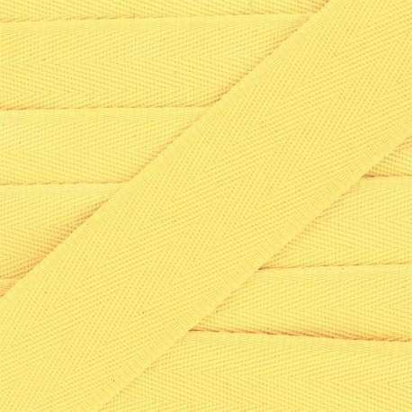 Sangle coton unie 56 mm - jaune x 1m