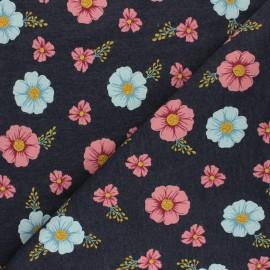 Mottled Poppy Sweatshirt fabric - dark grey flowers B x 10cm