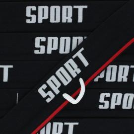 Flat elastic - black Sportif x 83cm
