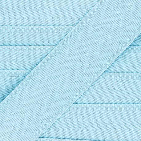 Sangle coton unie 56 mm - bleu ciel  x 1m