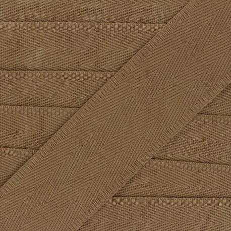 56 mm plain cotton Strap - tobacco x 1m