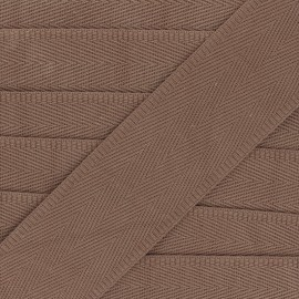 Sangle coton unie 56 mm - crème de marron  x 1m