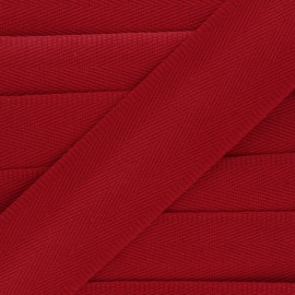 56 mm plain cotton Strap - red x 1m