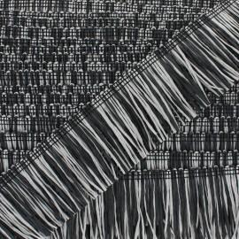Galon à Franges Raphia - gris/noir x 1m