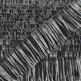 Rafia Fringe Trimming Ribbon - grey/black x 1m
