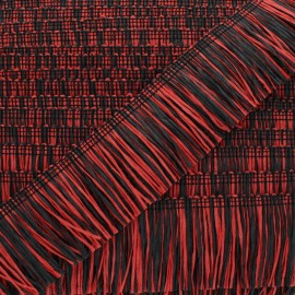 Rafia Fringe Trimming Ribbon - red/black x 1m