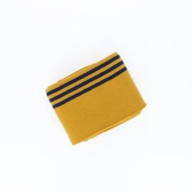 Poppy Stripped Edging Fabric (135x7cm) - mustard yellow Trio