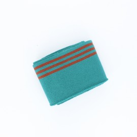 Poppy Stripped Edging Fabric (135x7cm) - Lagoon Trio