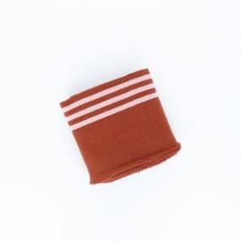 Poppy Stripped Edging Fabric (135x7cm) - Rust Trio