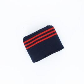 Poppy Stripped Edging Fabric (135x7cm) - Navy Blue Trio