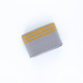 Poppy Stripped Edging Fabric (135x7cm) - Mouse Grey Trio