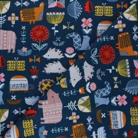 Cotton Dashwood Studio fabric - blue Gathering Hibernate x 10cm