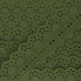 60 mm English Embroidery ribbon - khaki green Esmée x 1m