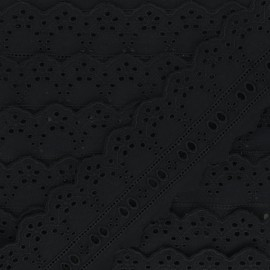60 mm English Embroidery ribbon - black Esmée x 1m