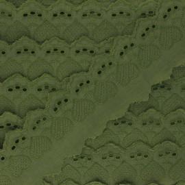 55 mm English Embroidery - khaki green Lucine x 1m