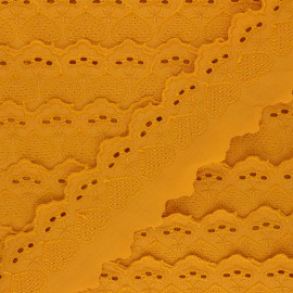 Broderie Anglaise Lucine 55 mm - jaune moutarde x 1m