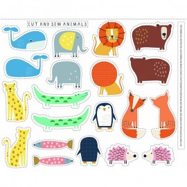 Cotton Dashwood Studio panel fabric - Cut and Sew Animals Habitat x 93cm
