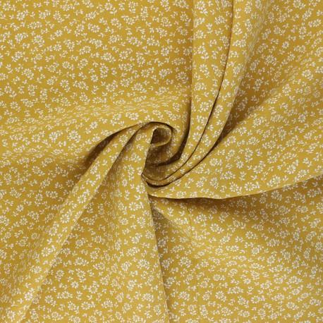 Tissu viscose Lison - jaune moutarde x 10cm