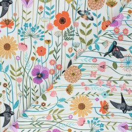 Cotton Dashwood Studio fabric - white Flying Bird Aviary x 10cm