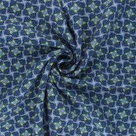 Tissu viscose Tanzania - bleu x 10cm