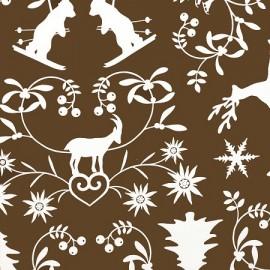 Tissu coton montagne chocolat
