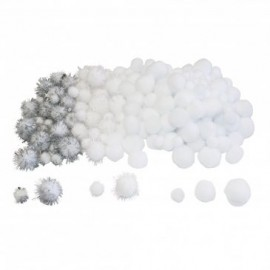 Set de 200 pompons ronds - Hiver Blanc