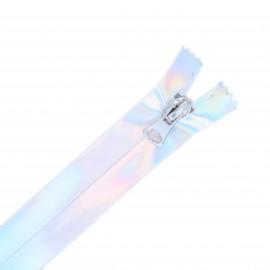 20 cm Closed Bottom Waterproof Zipper - silver Silvery