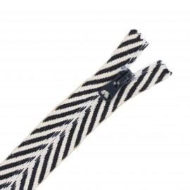 Fermeture Non Séparable invisible 20 cm Classy Zebra  - noir