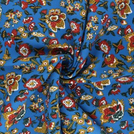 Tissu viscose Boho - bleu x 10cm