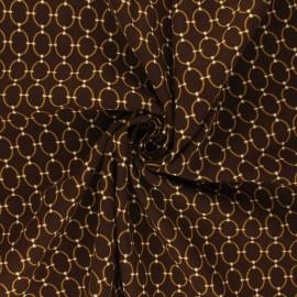 Tissu viscose Ines - marron/doré x 10cm